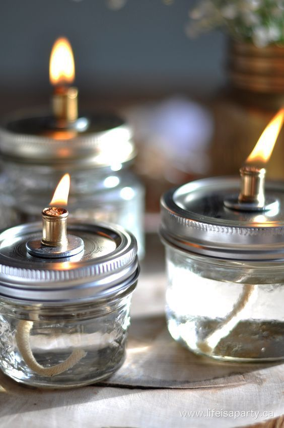 How to Make Mason Jar Oil Lamps - via Life Is a Party                                                                                                                                                                                 More
