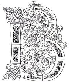 Illuminated Mcript Coloring Pages Letter B Celtic Zentangles