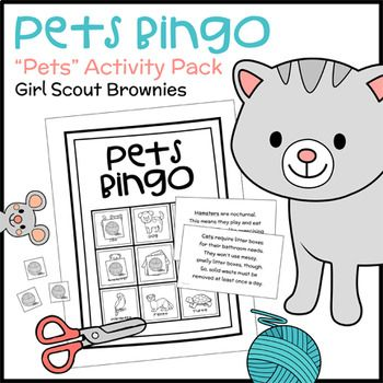 Girl Scout Brownies - Pets Badge - Steps 1 & 3 - Brownies learn what kind of care different pets need with this themed bingo set. Play once to fulfill Step 1. Play again with a different set of calling cards, or complete the included alternate activity, to fulfill Step 3. This activity pack also comes with a set of goldfish pencil toppers...