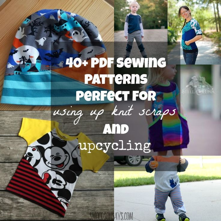 A round-up of PDF sewing patterns that are perfect for upcycling and using up knit scraps.