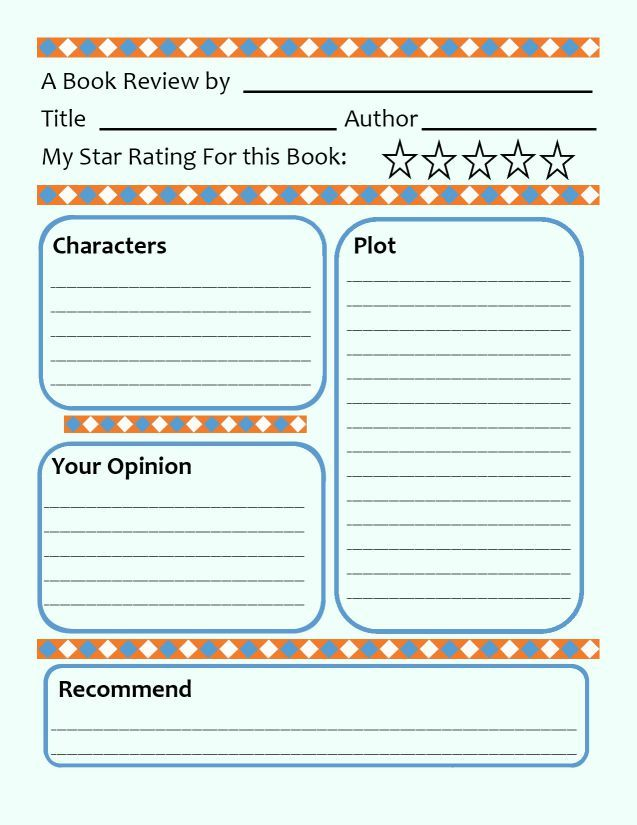Book Review Template For Kids Tips Activities Book Review