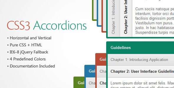 CSS3 Accordions is a pack of Accordions based on pure CSS3. It comes with horizontal and vertical layout and 4 predefined color skins. You can put content of any type inside accordion expandable section including lists, images or any custom HTML code. Tags: accordian, accordion, accordions, css accordion, css3, css3 accordion, image, menu, navigation, slider, sliding, tabs, transition, video, widget.