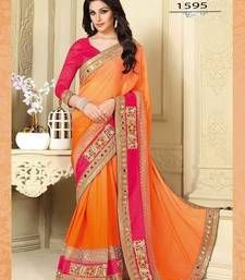 Buy orange embroidered georgette saree with blouse designer-embroidered-saree online