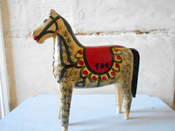 Vintage wooden horse toy number 101 racing horse. by Birdycoconut