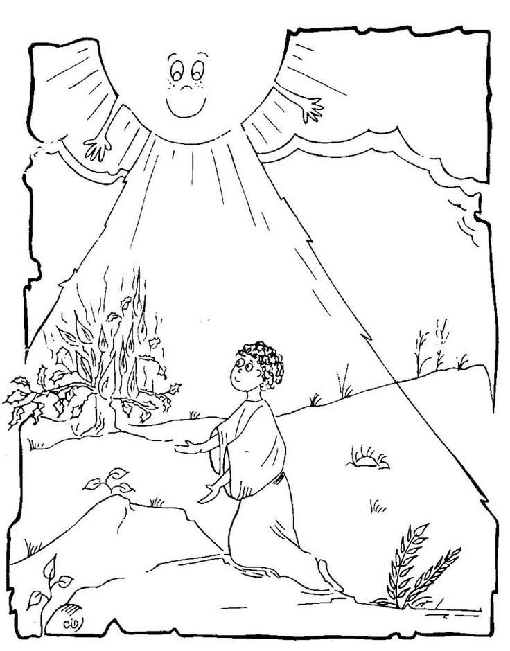 Moses and burning bush coloring pages vbs craft ideas for The golden calf coloring page