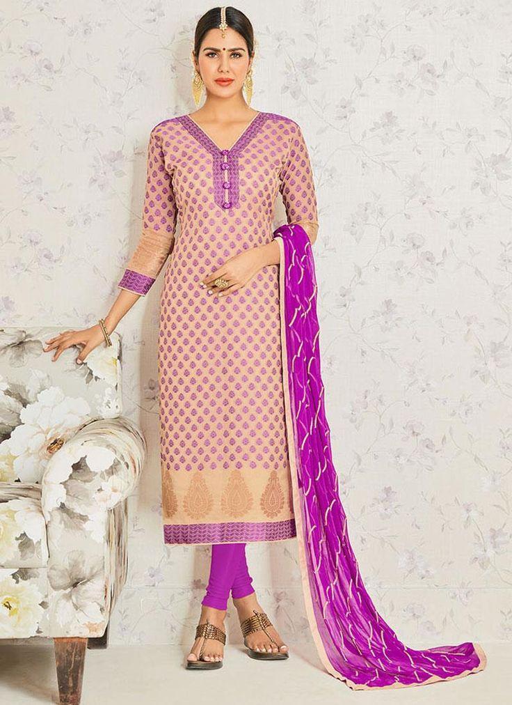 Exuberant Purple Embroidered Work Churidar Suit