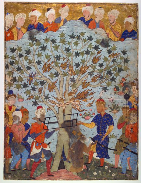 The Prophet Zakariya in the Tree, from a Falnama, about 1550 Tabriz or Qasvin Safavid dynasty Opaque watercolor on paper Calligraphy on reverse in nastaliq script Jerome Wheelock Fund 1935.16 Worcester Art Museum
