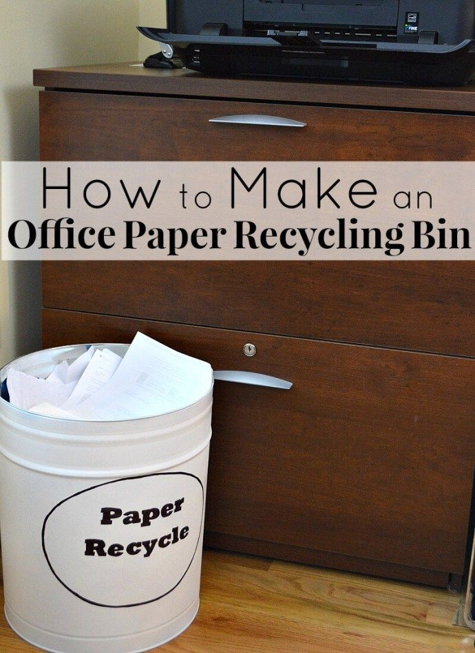 How to make Office Paper Recycling Bins from an upcycled popcorn tin.