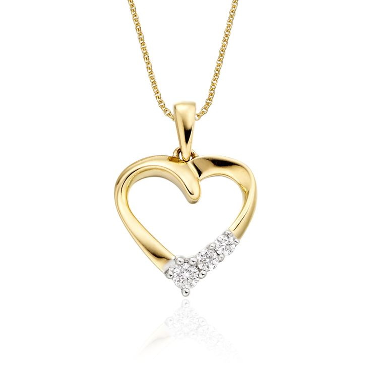 This elegant yellow gold diamond pendant has 0.15ct diamonds. The mirror polished open heart pendant has 3 diamonds set in simple yet beautiful design. This necklace is made in 9K yellow gold and is available complete with a beautiful mirror trace chain or if you already have a chain then you have the option to buy just the pendant.