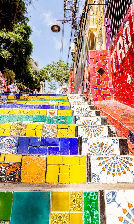 Mosaic staircase in Escadaria Selaron, Rio de Janeiro #art
