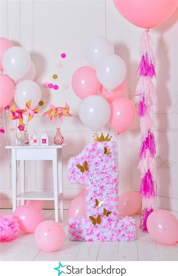 Pink Theme 1st Birthday Baby Show Butterfly Backdrops In 2020