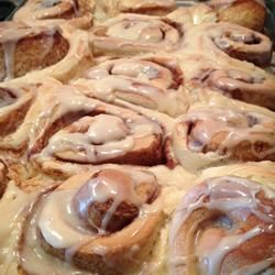 Mom's Jiffy Cinnamon Rolls. Made with a cake mix and yeast for softer dough.  Read all the reviews as there are some good tips in them.