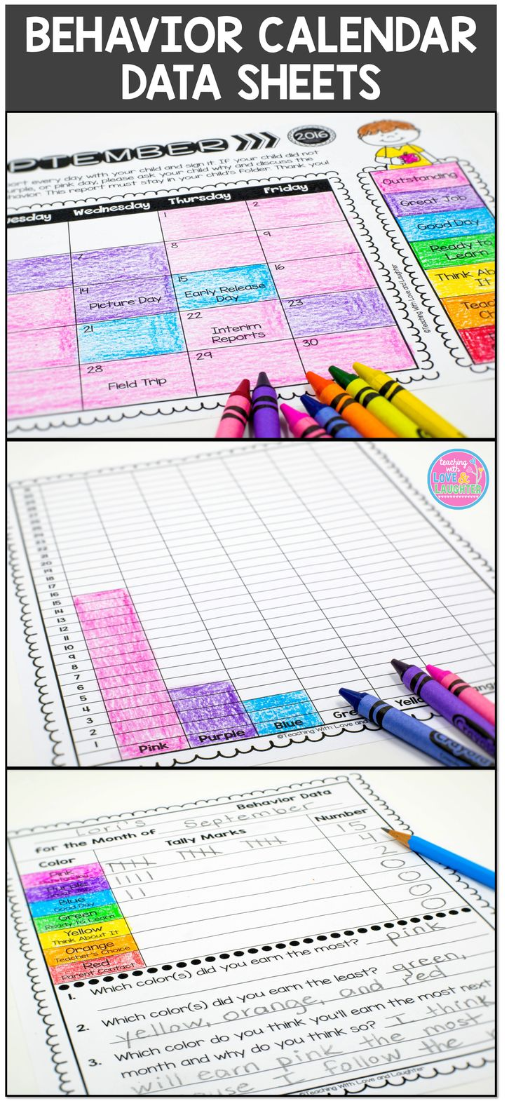 These data sheets are for teachers who use a clip chart and clip chart calendars to manage classroom behavior. They will give your students the opportunity to analyze and reflect on their classroom behavior.  At the end of each month, students can use their behavior calendars to color in the bar graph to represent the colors on their calendar. Once they have colored in their bar graph, they can analyze their data, using one of the 6 response sheets.