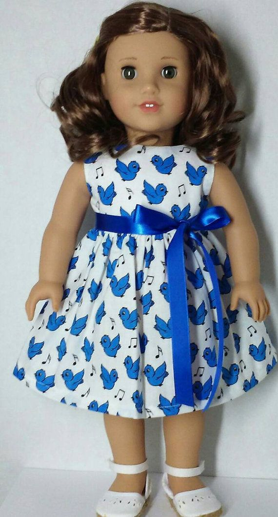 American Girl Doll Clothes Handmade  Dress  Blue by Dollclothes4K