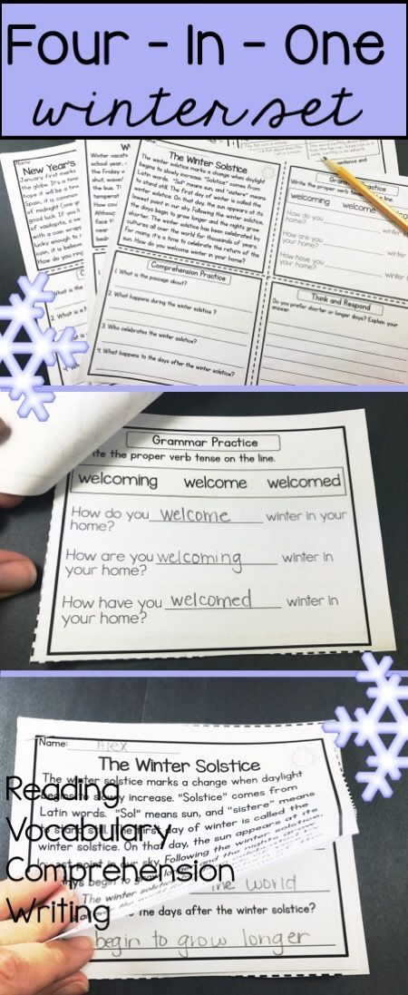 Reading comprehension activities with a winter theme for third grade, fourth grade or fifth grade!