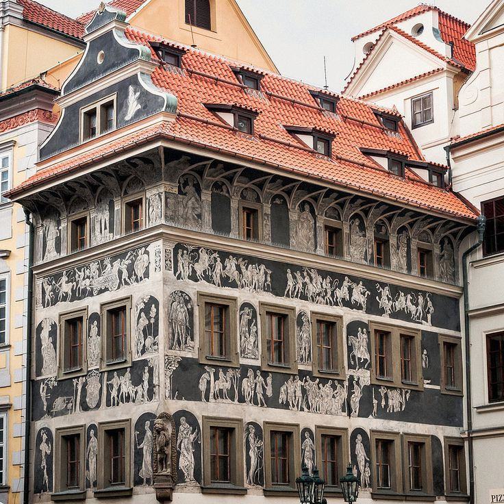 """Franz Kafka's Residence (1889-1896), Prague.  During Kafka's early childhood, his family lived in a 17th-century house – called the House of the Minute (Minuta) with beautiful Italian Renaissance-style sgraffito frescos on biblical and classical themes – located to the left of the Old Town Hall. From this house, little Franz, accompanied by the family's Czech cook, walked to the elementary school that Kafka described years later as """"horror."""