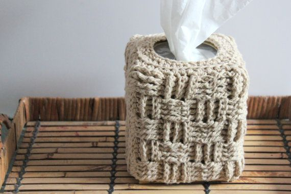 Crochet Basket Weave Tissue Box Cover - made from soft, cotton yarn - fits most regular cube sized tissue boxes (5.25 x 4.25 x 5.25) - a rustic