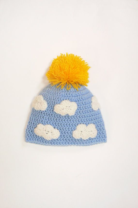 """Crochet Sunny and Funny Pom Pom Hat with sun and clouds for Kids, Beanie, Spring Hat, 19-20"""", Ready to ship"""
