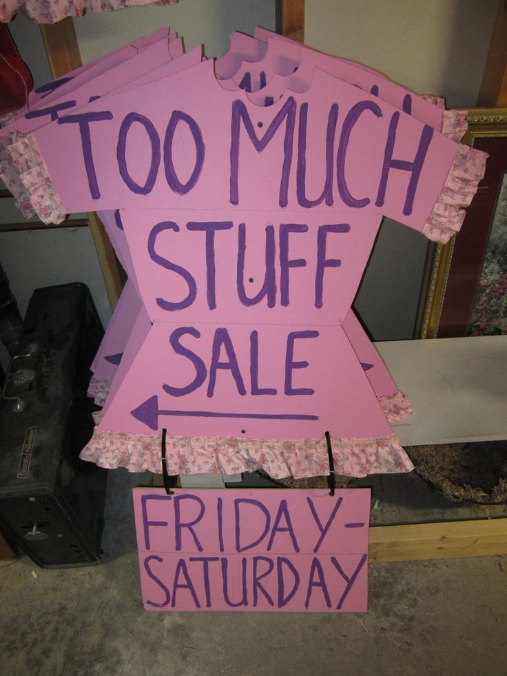 Yard Garage Sale Signs Printed On Paper And Taped To