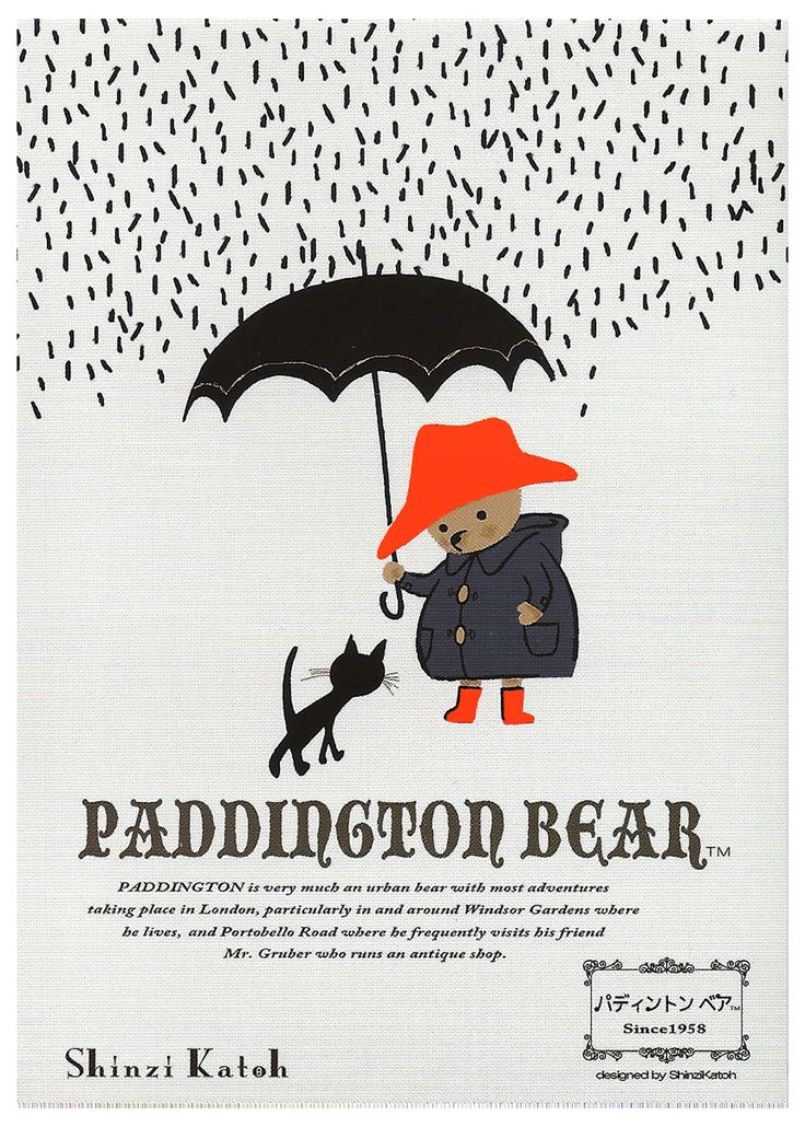 long winter coats Shinzi Katoh Paddington Bear Rain Postcard  this would make such an AWSOME piece of art