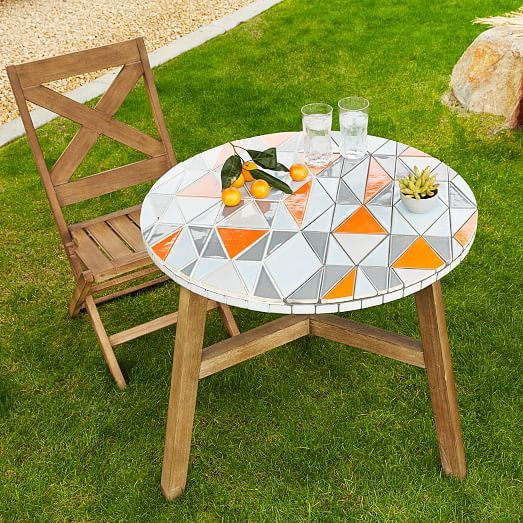 Mosaic Tiled Bistro Table - Mid-Century Orange | West Elm