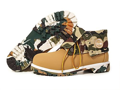Timberland Roll-Top Womens Boots Chocolate Camo Color  7bbb7dd313