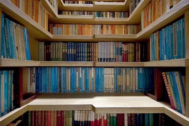 Kitap kurtları için benzersiz kitaplık tasarımı
