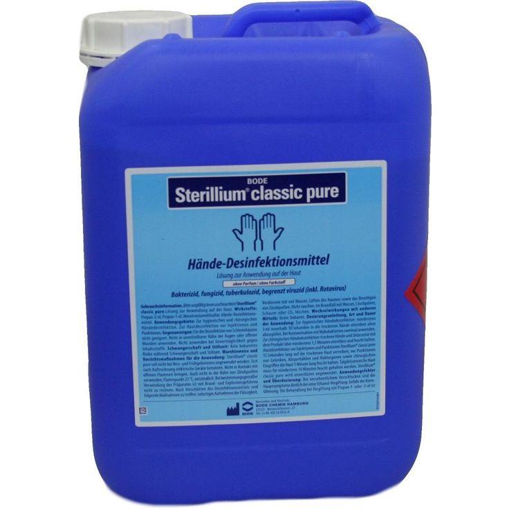 STERILLIUM Classic Pure Lösung Händedesinfektionsmittel:   Packungsinhalt: 5 l Lösung PZN: 04818418 Hersteller: PAUL HARTMANN AG Preis:…