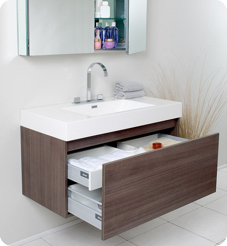 Bathroom - Gray walls; suspended cabinet w/drawers