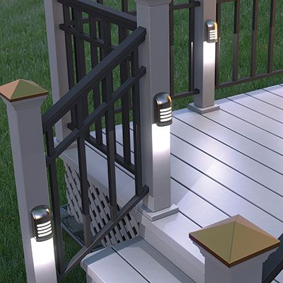 """Motion Sensing Deck Light motion sensor activates a bright LED upon detection to provide better lighting of the covered area. Fully adjustable between high/low brightness and long/short duration. Weatherproof for outdoor use and operates on three C-cell batteries (not included). Available in White or Brown. Measures 2""""l x 6""""w x 8""""h."""