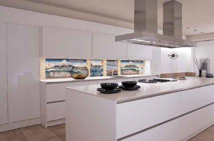Pintura oriental sobre cerámicos de cocina