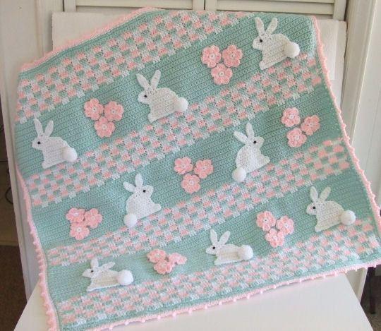 Crochet Pattern Bunny Baby Blanket Digital por CrochetVillage