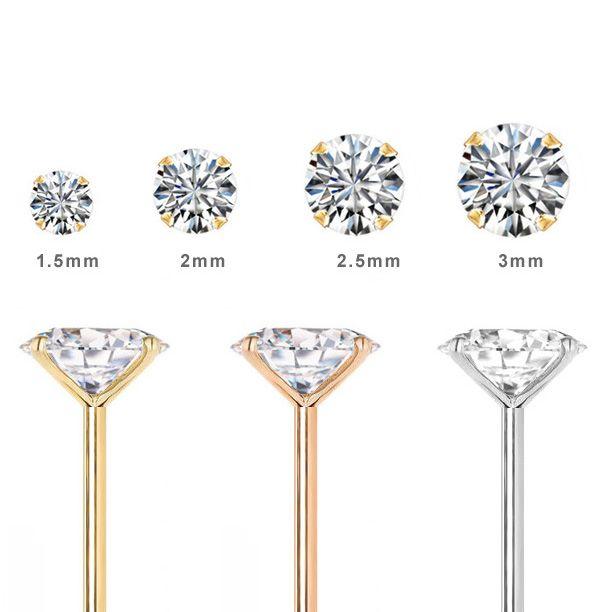 Diamond Nose Ring L Shaped Low Profile Diamond Nose Ring L