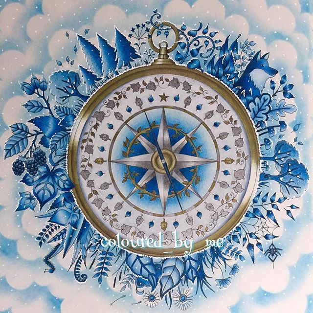 Original Pinner My Winter Wonderland Compass Enchanted Forest Johanna Basford Faber Castell Polychromos Derwent Metallics Gold Pablo Winsor Newton