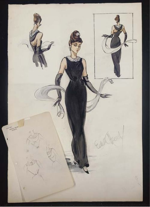 Sketch by Edith Head of a Hubert de Givenchy design for Audrey Hepburn in Breakfast at Tiffany's (1961).  From Christie's
