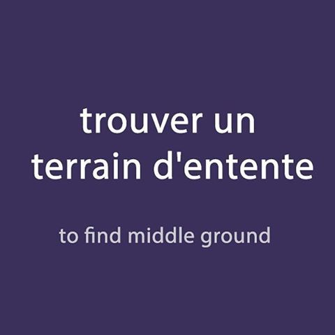 French expression of the day: trouver un terrain d'entente -to find middle ground