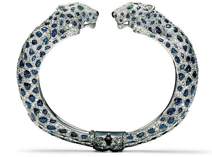 A Rigide Panthère bracelet of white gold, diamonds and sapphires from 1958.