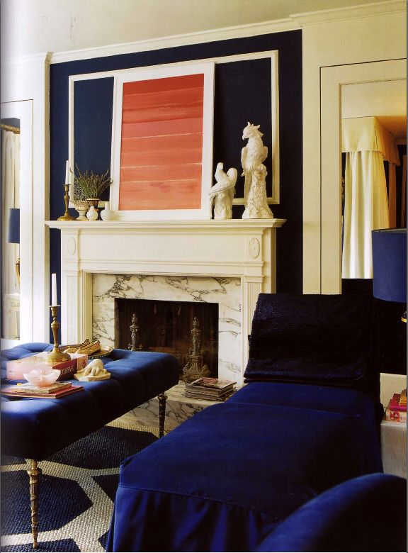 Contemporary Glam Navy Furnishings Marble Fireplace Coral Pink Art And Geometric Rug