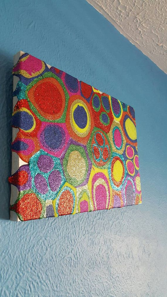 Multi-coloured Glitter Painting Mixed Media Original Abstract