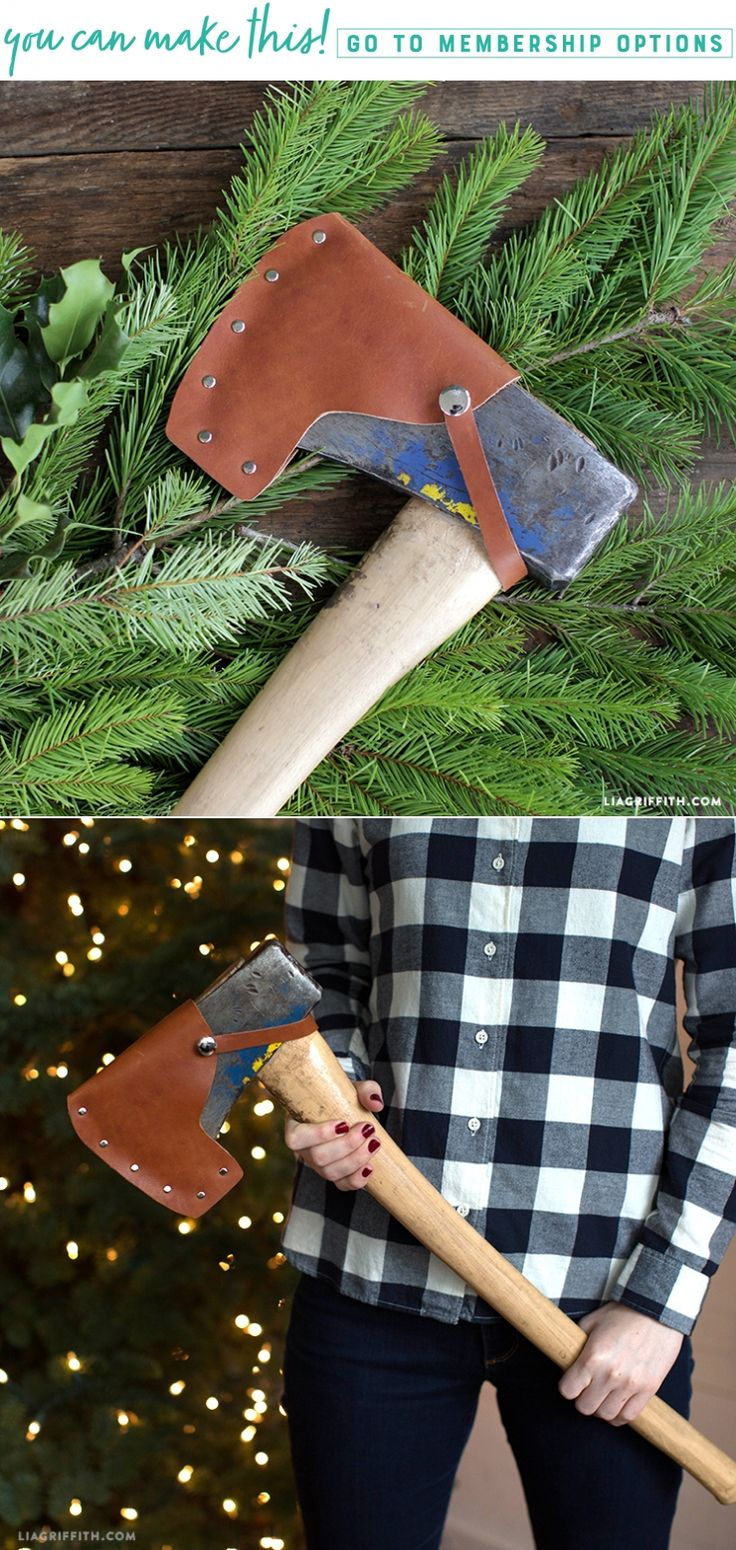 Leather Axe Cover - Lia Griffith - www.liagriffith.com #diyproject #diyprojects #diyinspiration #leather #leathercraft #diychristmasgift #madewithlia