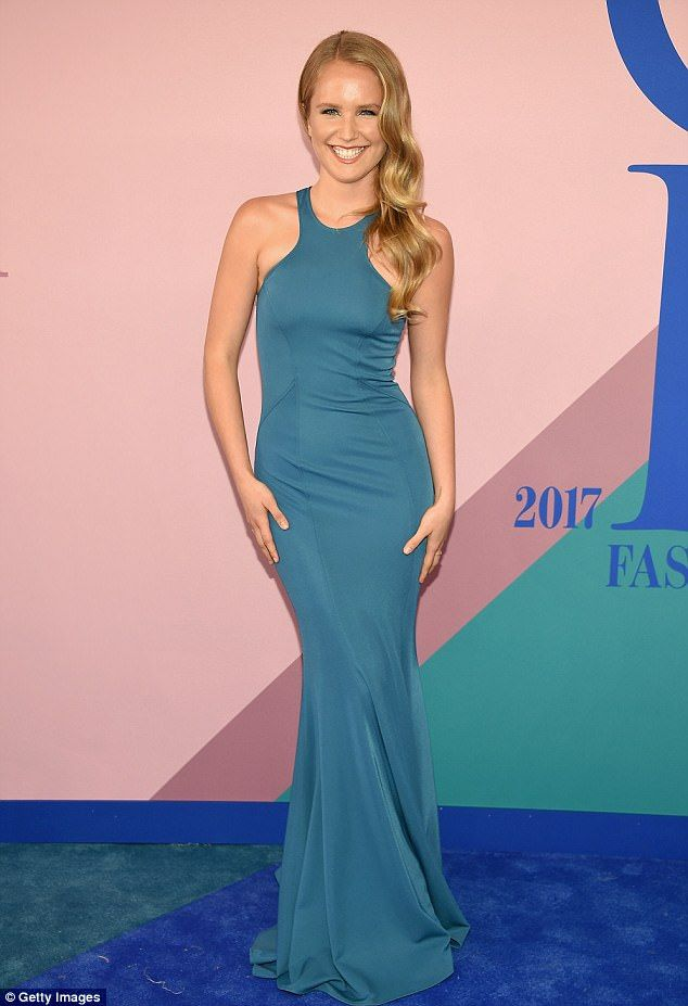 Ahoy matey! Sailor Cook looked stunning in this teal halter gown at the CFDA Awards in NYC on Monday