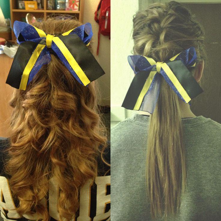 Cheer hair / spirit hair. DIY hair bow in school colours using ribbon from Michael's.