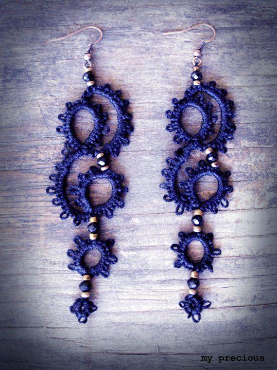Tatted long earrings by MypreciousCG on Etsy, $18.00