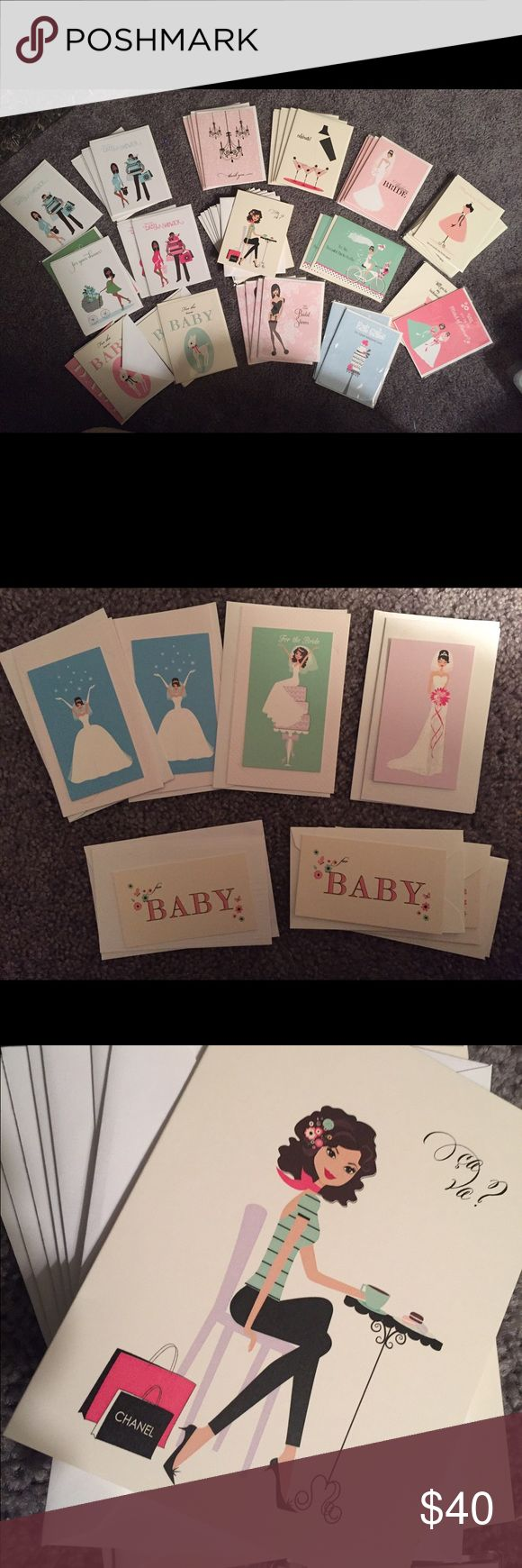 """Collection of """"That Girl"""" Cards - New Collection of """"That Girl"""" Stationary Co. Cards - New condition: new  Collection of 59 Vintage inspired cards with Envelopes....,Very Chic and Unique.   $40.00 for entire collection of NEW 50 large and 9 florist card sizes ....some have multiples.   * New Baby  * For your Baby Shower - multiples * Marriage * Wedding Day  - multiples  * Bridesmaids - multiples * For the Bride  * Congratulations  * Wedding * Thank You - multiples * Bridal Shower  * French…"""
