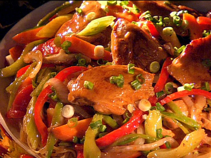 Hong Kong Style Noodles with Chicken and Vegetables recipe from Guy's Big Bite via Food Network