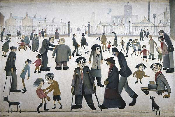 The Cripples, Manchester, United Kingdom, 1949, by LS Lowry.