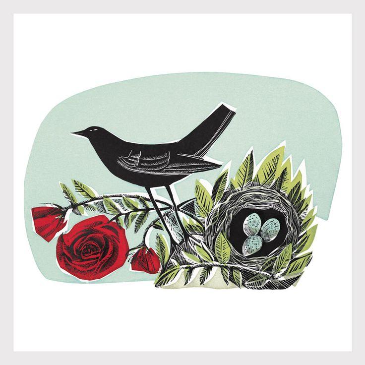 Angela Harding, rose, bird, nest, design, pattern, printmaking, illustration, colour