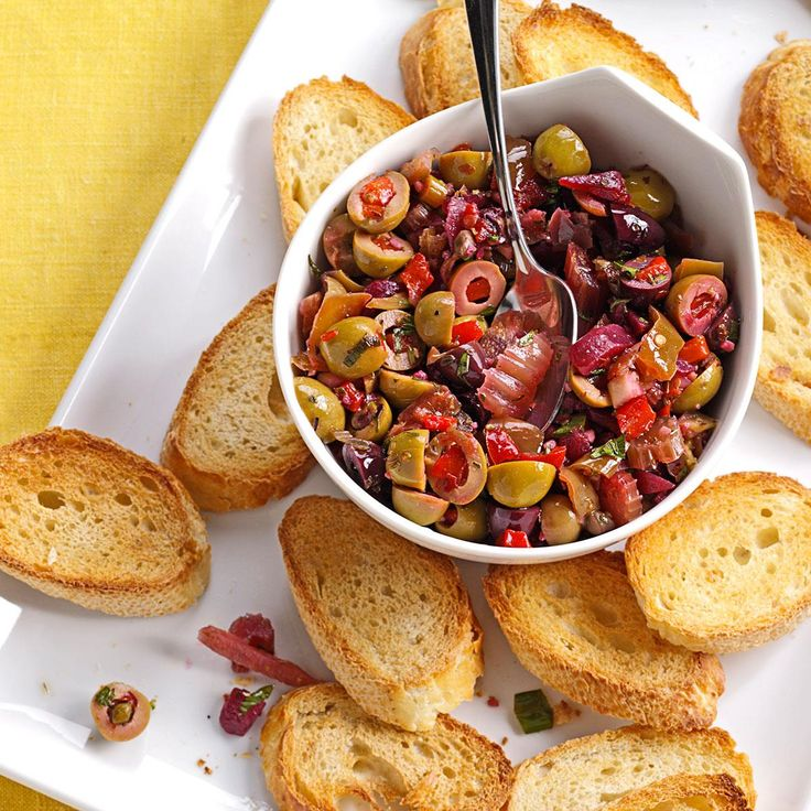 Muffuletta Olive Salad Recipe -This is my version of a famous New Orleans salad. Try it as a sandwich topping. Try it on toasted baguette slices. Or make it deluxe with diced ham and salami. — Judy Batson, Tampa, Florida