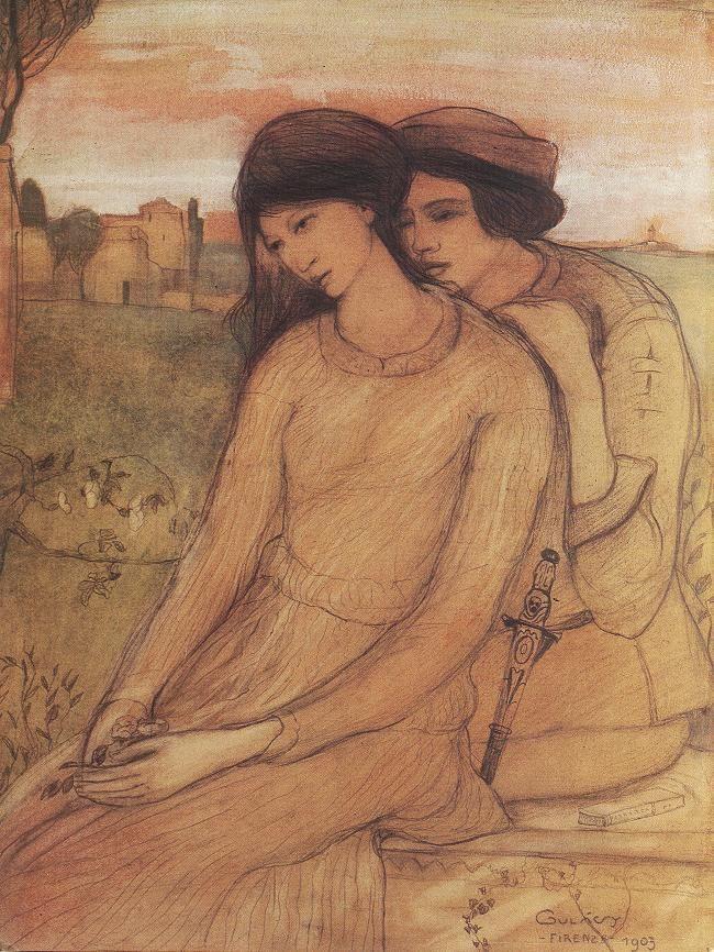 Lajos Gulácsy, Francesca da Rimini and Paolo Malatesta, 1903 Watercolour and pencil on paper, 35 x 25,5 cm