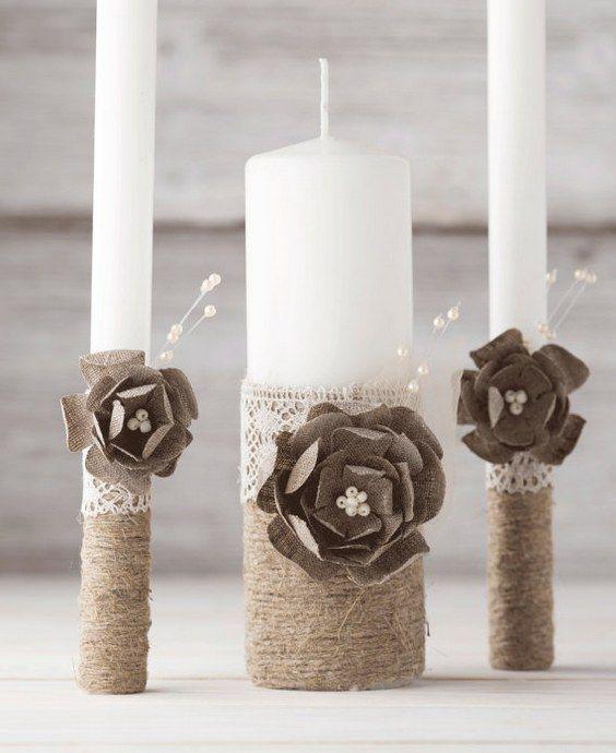 Vela Vela de la unidad Conjunto boda rústico rodeado de boda rústica Vela de la unidad de la arpillera y la cuerda del cordón
